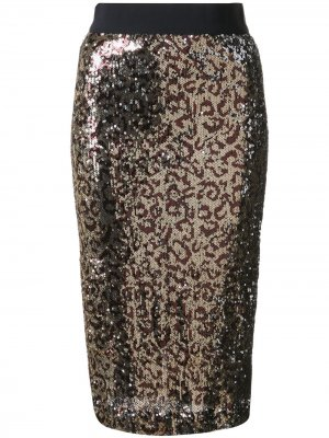 Юбка с леопардовым принтом и блестками Milly. Цвет: золотистый