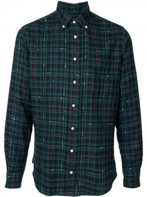 Рубашка оксфорд в клетку Gitman Vintage. Цвет: зеленый