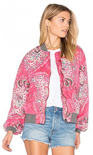 Куртка-бомбер с принтом daytrip Free People. Цвет: розовый