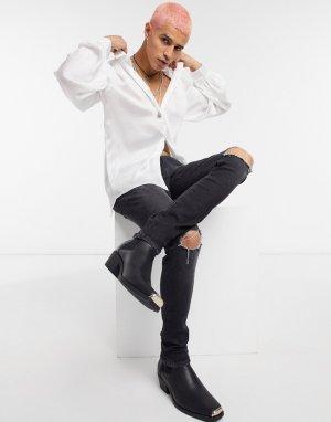 Черные выбеленные супероблегающие джинсы с рваными коленями из денима плотностью 12,5 униции -Черный цвет ASOS DESIGN