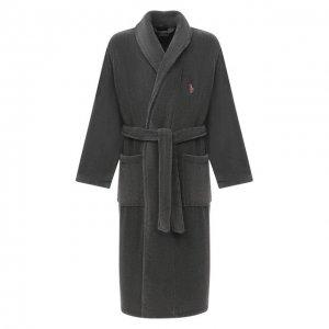 Хлопковый халат Polo Ralph Lauren. Цвет: серый
