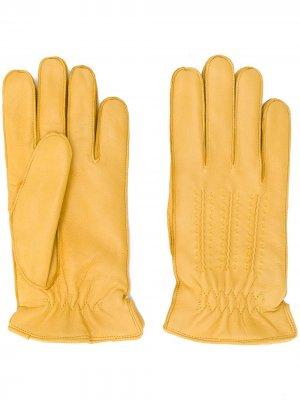 Кожаные перчатки с декоративной строчкой Orciani. Цвет: желтый