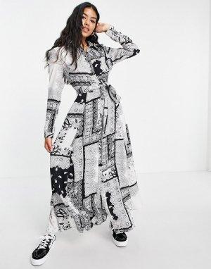 Платье макси с длинными рукавами и принтом -Multi Girl In Mind