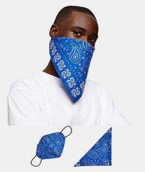 Маска для лица и бандана темно-синего цвета с принтом пейсли Roman Kemp-Голубой Topman