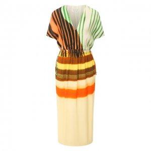 Платье из вискозы и хлопка Dries Van Noten. Цвет: разноцветный