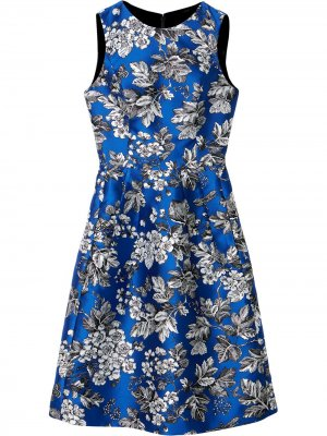 Платье с цветочным принтом Carolina Herrera. Цвет: синий