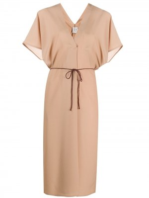 Платье миди с завязками Alysi. Цвет: нейтральные цвета