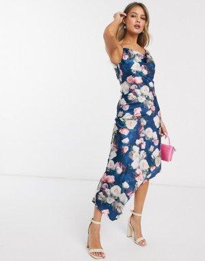 Платье-майка миди с принтом роз -Мульти Chi London
