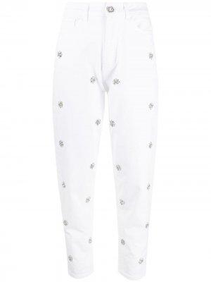 Декорированные джинсы скинни LIU JO. Цвет: белый