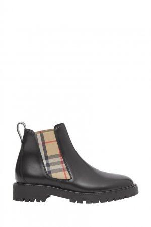 Черные ботинки-челси с клетчатыми вставками Burberry. Цвет: черный