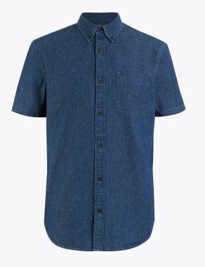 Джинсовая рубашка из чистого хлопка M&S Collection. Цвет: умеренный голубой деним