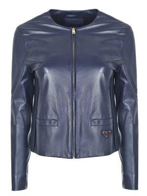 Куртка кожаная укороченная PRADA. Цвет: черный