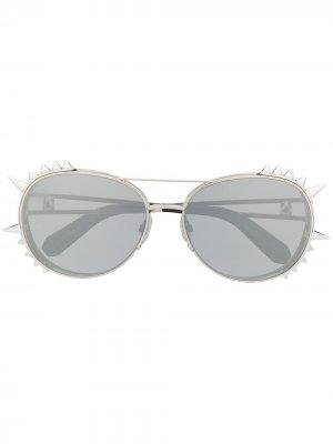 Солнцезащитные очки в оправе с шипами Philipp Plein. Цвет: золотистый
