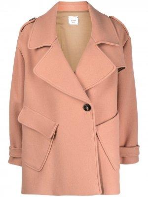 Однобортное пальто Alysi. Цвет: розовый