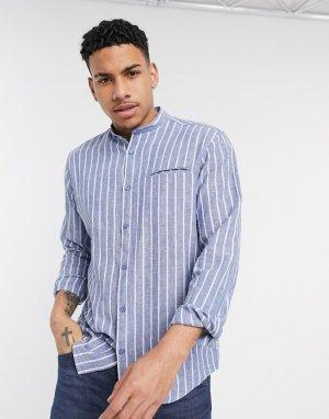 Синяя рубашка в полоску с воротником на пуговицах -Синий Esprit