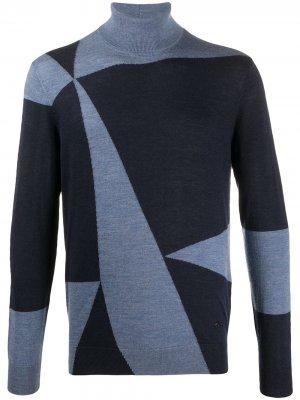 Джемпер с геометричным принтом Emporio Armani. Цвет: синий