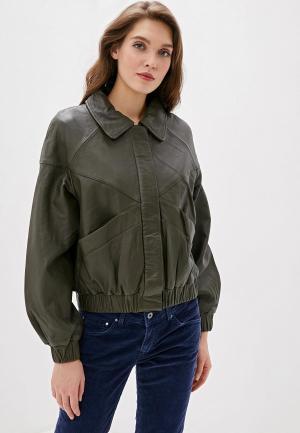 Куртка кожаная Pepe Jeans Dua Lipa. Цвет: хаки
