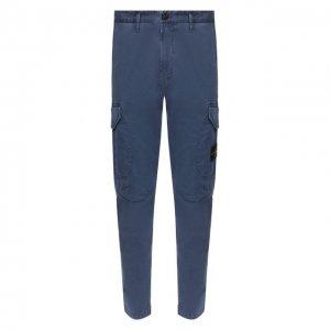 Хлопковые брюки-карго Stone Island. Цвет: синий