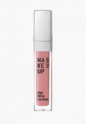 Блеск для губ Make Up Factory с эффектом влажных High Shine т.39 роза в дюнах, 6.5 мл. Цвет: розовый