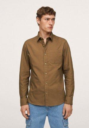 Рубашка Mango Man OXFORD1-I. Цвет: коричневый