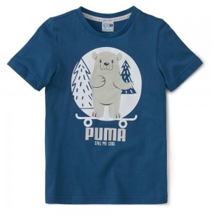 Детская футболка Animals Suede Tee PUMA. Цвет: синий