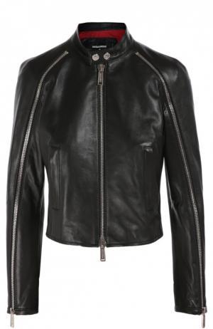 Укороченная кожаная куртка с воротником-стойкой Dsquared2. Цвет: черный