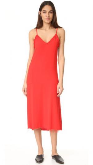 Платье-майка с V-образным вырезом Raquel Allegra. Цвет: оранжево-красный