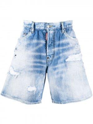 Джинсовые шорты с вышивкой Dsquared2. Цвет: синий