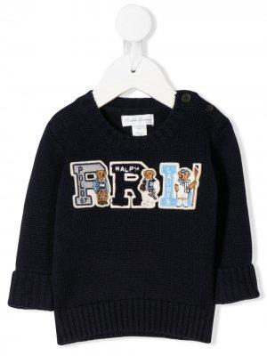 Джемпер с вышитым логотипом и пуговицами Ralph Lauren Kids. Цвет: синий