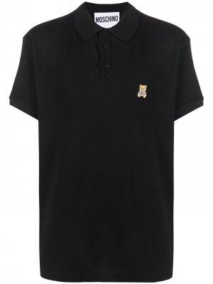 Рубашка поло с нашивкой Teddy Bear Moschino. Цвет: черный