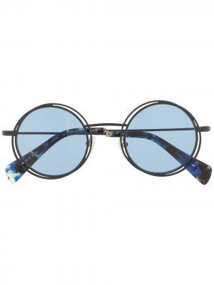 Солнцезащитные очки YY7034 в круглой оправе Yohji Yamamoto. Цвет: синий
