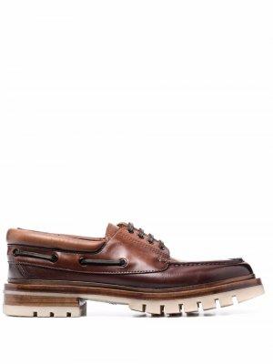 Lace-up leather boat shoes Santoni. Цвет: коричневый