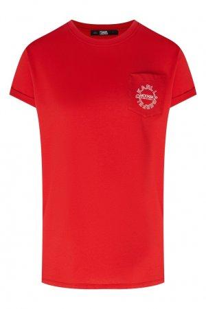 Красная футболка с небольшим логотипом Karl Lagerfeld. Цвет: бордовый