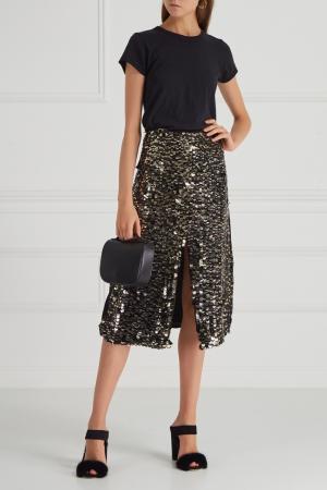 Шелковая юбка с пайетками Aquilano.Rimondi. Цвет: черный