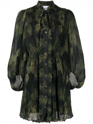 Плиссированное платье с объемными рукавами GANNI. Цвет: зеленый