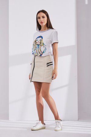 Женская Кожаная юбка 0208 INA VOKICH. Цвет: белый