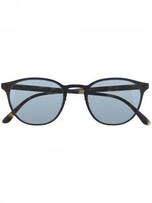 Солнцезащитные очки в овальной оправе Giorgio Armani. Цвет: черный