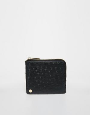 Бумажник на молнии с отделкой под страусиную кожу Mi-Pac. Цвет: черный