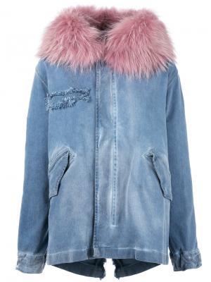 Furry trim denim jacket Mr & Mrs Italy. Цвет: синий
