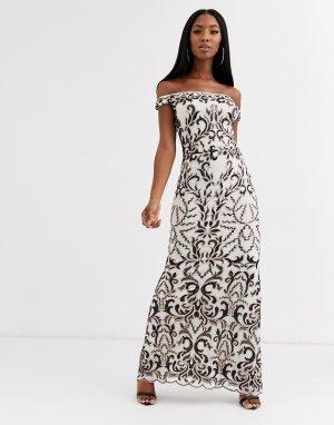 Кремовое платье-бандо макси с рисунком в стиле барокко черного цвета -Кремовый Goddiva