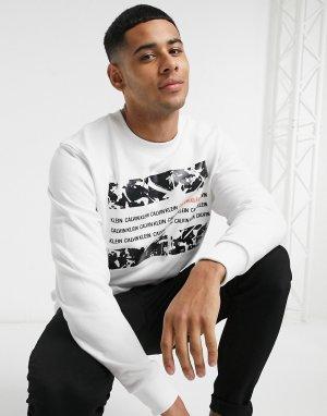 Белый свитшот с квадратным принтом Calvin Klein