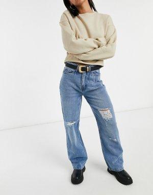 Голубые выбеленные широкие джинсы с высокой посадкой и рваной отделкой -Голубой Urban Bliss