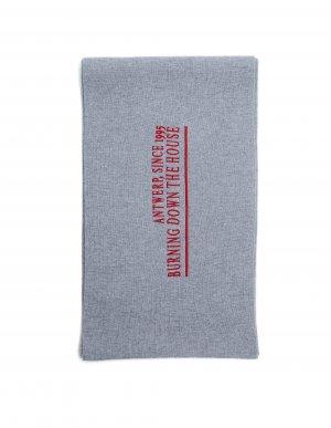 Серый шарф из шерсти и кашемира с вышивкой Raf Simons