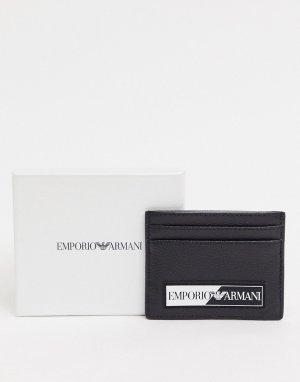 Черная кредитница с прорезиненным логотипом -Черный Emporio Armani