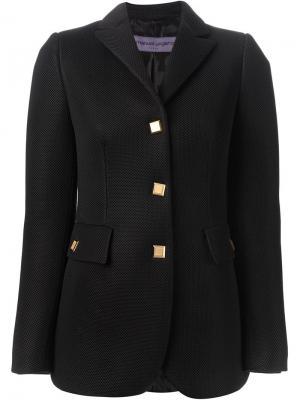 Куртка с золотистыми пуговицами Emanuel Ungaro. Цвет: чёрный