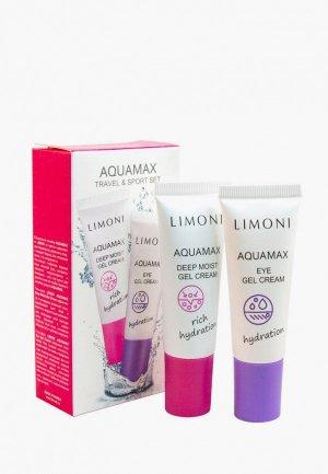 Набор для ухода за лицом Limoni AQUAMAX Travel & Sport Set интенсивно увлажняющий гель-крем лица, 25 мл + кожи вокруг глаз,. Цвет: белый