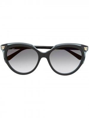 Солнцезащитные очки Panthère в массивной оправе Cartier. Цвет: черный