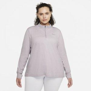 Женская беговая футболка с молнией на половину длины (большие размеры) - Пурпурный Nike