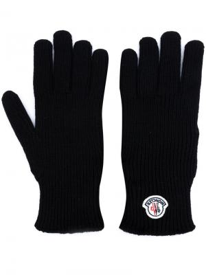 Перчатки с логотипом Moncler. Цвет: черный