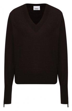 Пуловер из смеси шерсти и шелка Burberry. Цвет: темно-коричневый